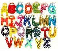 Wholesale Children s creative gifts toys wooden magnetic stickers wooden alphabet fridge magnets
