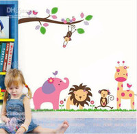 Wholesale Jungle Animals Giraffe Lion Monkey Elephant Wall Stickers Nursery Kid Room Decor