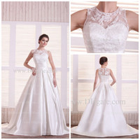 Wholesale A Line Princess Sweetheart Chapel Taffeta Bridal Gown Plus Size wedding dress Satin Wedding Dresses Custom Made Vestidos