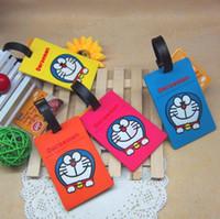 Wholesale Free Ship Soft PVC D Japan Cartoon Doraemon Lage Claim Tag Travel Name Tag Card Tag Name Pocket Case