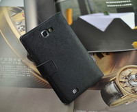 Wholesale 30pcs Wallet Taiga Genuine Leather Case Cover With Credit Card For Samsung Galaxy Note N7000 I9220
