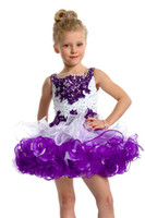 Wholesale 2013 Hot Sale Straps White amp Purple Girl s Party Cupcake Mini Girl s Pageant Dresses