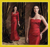 Reference Images Strapless Satin 2013 Red Sheath Strapless Mother of the Bride Dresses 3 4 Sleeves Jacket Sexy Formal Evening Gowns