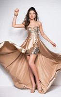 Wholesale Sexy Sequins Beaded Shiny Front Short Long Back Hi lo A line Prom Dresses Party Homecoming Gowns