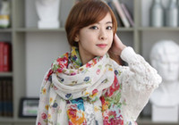 Wholesale Female Floral Scarf Shawl scarves sun garden a hundred flowers contend in beauty