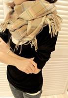 Wholesale South Korean male lady winter wool collar shawl dual purpose long Plaid scarves
