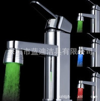 Wholesale LED Light emitting faucet Bathroom Sink Faucets Multilayer stairs New thermostat water tap