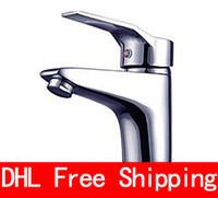 Wholesale DHL Bathroom Sink Faucets The real thing Single span cold and hot rotating Faucets