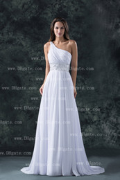 Wholesale 2013 Sexy New One Shoulder Chiffon Summer Beach Wedding Dresses With Ruffles And Beaded Sash BO00010