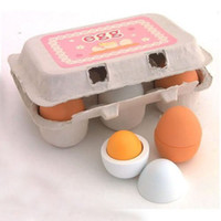 Wholesale 6pcs Wooden Eggs Yolk Pretend Play Kitchen Game Food Cooking Children Kid Toys