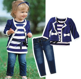 5 sets Baby Girls Coat + Long Sleeve Stripe T-shirt + Jeans Pants Children Outfits Kids Clothes Sets