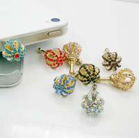 Wholesale Universal mm dust Plug Earphone Jack Rhinestone CROWN for iphone5 ipod galaxy s3 note2