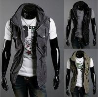 Wholesale Fashion Double Collar Vests Men s Multi pocket Slim Casual Vests Cotton vest color