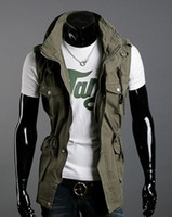 Wholesale HOT SELL Fashion Double Collar Vests Men s Multi pocket Slim Casual Vests Cotton vest color