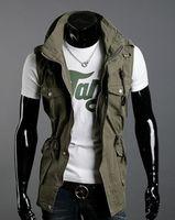 Wholesale HOT SELL Fashion Double Collar Vests Men s Multi pocket Slim Casual Vests Cotton vest color