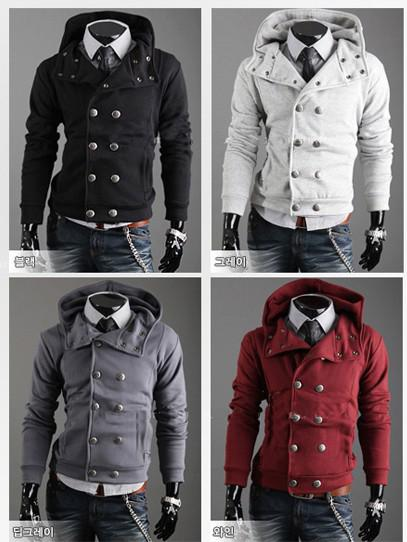 Men&39s Slim Top Designed Sexy Hoody Jacket Coat Double-breasted Pea