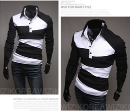 Wholesale New Mens Casual Slim Stylish Irregular spell color Long Sleeve polo shirt white