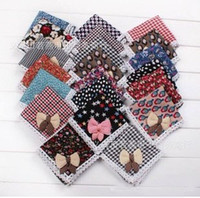 Wholesale 2013 New Children Scarfs Bowknot Baby Square Babies Lace Bibs Child Warmer Head Scarf Cotton