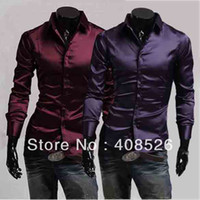 Men Silk Long Sleeve New Men's Fashion Emulation Silk Shiny Leisure Wear Men's Long Sleeve Dress Shirt Black Wine Red