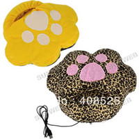 Wholesale yellow Cat pad USB Heated Slipper Anti slip sole Foot Warmer for Winter shoes Colors