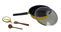 Wholesale Jeetee Cermaic Coating Nonstick Frying Pan Skillet cm w Glass Cover Yellow EMS free to Russia