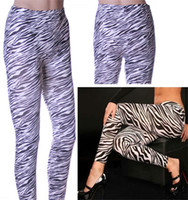 Wholesale New Fashion Sexy Wild Plus Size Zebra Leggings Animal Print Tights Stretch