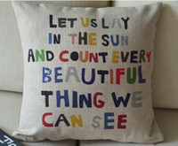 Wholesale Printed Letters Cotton Linen Pillow Cover Cushion Cover