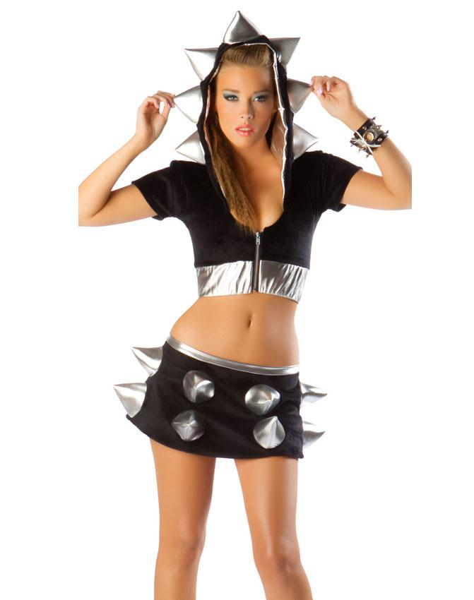 sexy halloween costumes for women adult hot foamy spiked jacket metallic silver band foam spikes black outfit uniform h39115 cosplay costumes devil costume - Naughty Halloween Costume