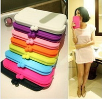 Wholesale Silicon Silicone Colorful Candy Makeup Cosmetic Bag Wallet Purse Eyeglass Pouch Case Gift For iPhone