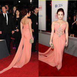 Wholesale Demi Lovato Ruffle Chiffon Celebrity People s Choice Awards Celebrity Evening Dress CBD168