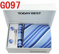 Wholesale 10sets Elegant Men Korean Silk Neck Tie Hankie Cuff Links Tie Clasp Dress Set Wedding Dangler
