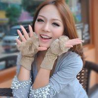 Wholesale hot selling rabbit fur gloves lady s winter long fingerless gloves hand wrist half fingers gloves