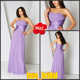 Wholesale 2013 Custom Made A line Strapless Floor Chiffon Lavender Bridesmaid Dresses Wedding Party Dress Shop