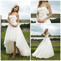 Reference Images best white opening - Beach wedding dress Best selling Strapless short front long back Organza Lace Open back summer Beach Wedding dresses