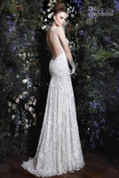 Wholesale 2014 Hot Sexy Backless Elegent Lace Wedding Dresses Beaded White Ivory Summer Mermaid Dresses GL04