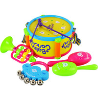 Wholesale 4 in baby Drum horn rattles sand hammer instrument combination set baby musical instrument toys