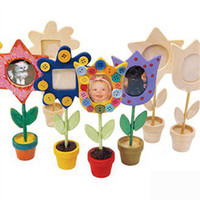 Wholesale 24pcs draw your own flower pot photo frame paint unfinished hobby wood toys wooden picture frame