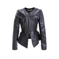 Wholesale DHL free Fashion Women PU Leather Jackets Zip Up Cropped PU Leather motorcycle Jacket black