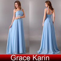 Wholesale Grace Karin new Sexy Beaded One shoulder Cocktail Dress Chiffon A line Long Formal Gown Evening Dress CL2949