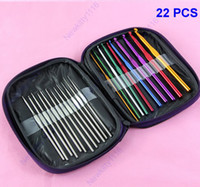 Wholesale 22pcs set Multi color Aluminum Crochet Hooks Knitting Needles Weave Craft With Case