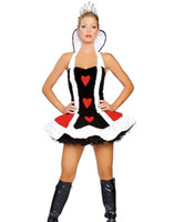Wholesale Cosplay Queen of Hearts Deluxe Costume Plus Size Adult Sexy Costumes For Women Ruffled Top Skirt Crown H39084