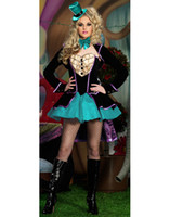 Wholesale Women s Halloween Costume Cosplay Mischievous Mad Hatter Deluxe Adult Costume H39152
