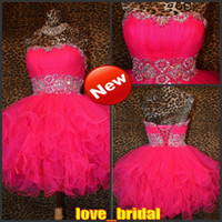 Wholesale 2015 Fuschia Pink Short Homecoming Dresses with Beading Prom Pageant Dresses Cocktail Homecoming Gowns Mini Dresses