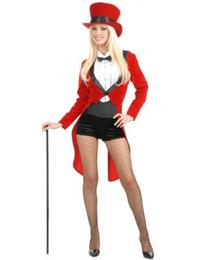 Wholesale Trajes sexy de Halloween para as mulheres do mágico do circo Senhora Mestre do anel do traje de veludo Smoking Jacket Bow Outfit H39146