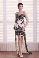 Wholesale 2013 Dhgate Hot Sexy Sweetheart Champagne Lace Black Applique Hi Lo Sheath Prom Dresses DH4040
