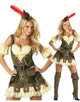 People fancy dress sexy - Sexy Halloween Costumes For Women Cosplay Superhero Sexy Robin Hood Fancy Costume Dress Black Belt Feathered Hat Outfit H39171