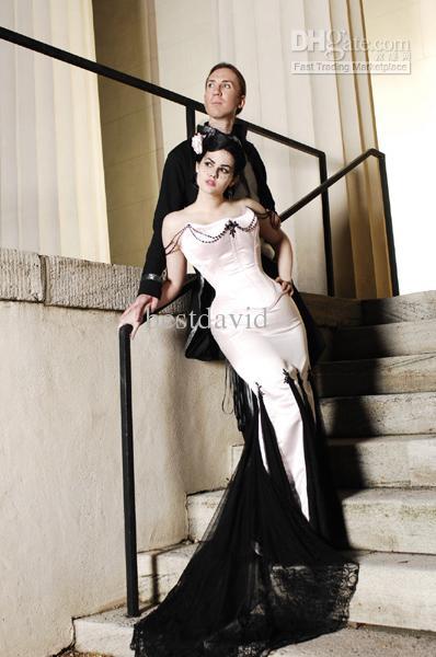 Cheap Black And White Gothic Wedding Dress Mermaid Beaded