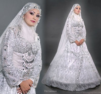 Reference Images islamic wedding dress - Stunning High Quility Vantage Islamic long sleevees Hijab Muslim wedding dresses HS0699
