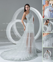 Wholesale 2013 DHgate Real Images One Shoulder Long Sleeves Satin amp Tulle Silver Appliqued Prom Dress BO000124