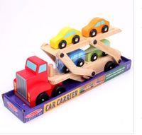 Wholesale 1pcs kid Toys Wooden double car dumper trucks truck red head